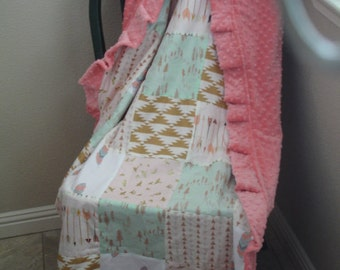 Born Free  Mint and Gold Minky Patchwork Blanket With Rufflewith  You Choose Size MADE TO ORDER No Batting