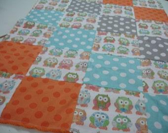 Short Legged Owls Minky Blanket  MADE TO ORDER No Batting
