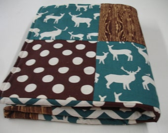 Deer Grove Teal and Brown Minky Blanket MADE TO ORDER