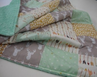 Deer Trekker Taupe Gold Mint and Coral Minky Patchwork Blanket You Choose Size MADE TO ORDER No Batting