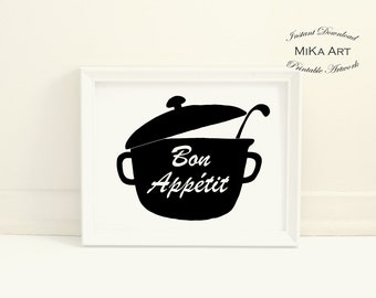 Bon Appetit Sign Bon Appetit Print Kitchen Art Printable Black & White Print Kitchen Wall Art Modern Kitchen Wall Decor Instant Download Art