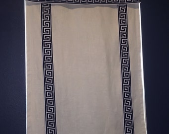 Custom Lined Faux Roman Shades with Greek Key Trim - Pick any linen with any trim