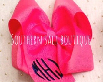 Large Solid Monogram Bow - You Pick Color!