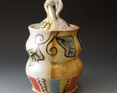 Covered Jar, Celadon and Shino, Handmade Ceramic Lidded Jar, Cookie Jar, Vessel, Urn, Fine Art Ceramics
