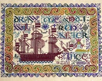 Song of Solomon Ship Sampler -  Cross Stitch Sampler Pattern