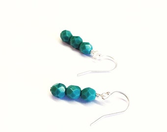 turquoise earrings - tuquoise glass bead earrings - turquoise dangles