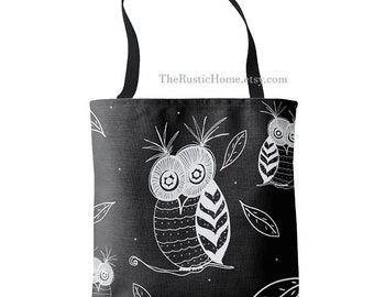 Large shopping tote bag 16x16 Owl tote bag black white gray owls tote market beach gym travel school owls leaves rustic owl gifts nature bag