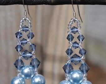 Light Blue Swarovski Elements Pearl and Crystal Bridal Wedding Prom chandelier Earrings