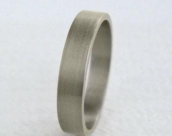 4mm Gold Wedding Band | Flat Edge Wedding Band | 10k 14k 18k White Gold Ring | Eco friendly Recycled Gold | Men's Women's Slim Wedding Band