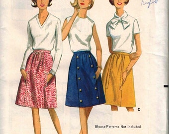 1960s Butterick 4082 Gorgeous Mod Skirt Sewing Pattern Vintage Size 16