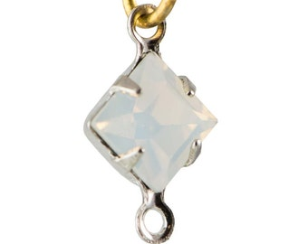 White Opal Faceted Square Glass Stones 2 Loop Silver Plated Setting 6mm (8) squ013RR2