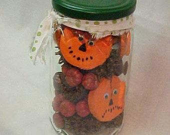 Canned PUMPKINS~Sliced Pumpkins in a JAR~~WOODEN Pumpkin Slices in Glass Jar~Perfect for Halloween or Anytime~Hand Painted~Google Eyes