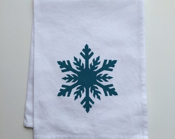 Snow Flake in turquiose- Hand Screen Printed Tea Towel - Cotton