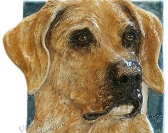 Labrador Retriever Dog Ceramic Portrait Sculpture 3D Dog Art Tile made to order