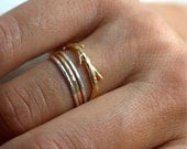 Valentines Day Sale 14k Gold and Silver Simple Twig Set | Stacking Rings | Nature Inspired Rings