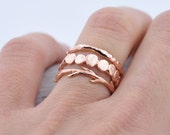 Valentines Day Sale Rose Gold Pebble Raw Twig Ring Set|  Stacking Rings Set| Vermeil Rings