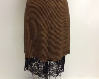 Brown Plaid Skirt with Black Lace Underlay XL