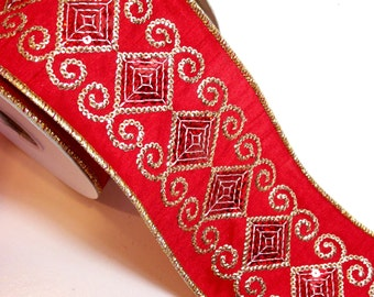 Christmas Ribbon, Offray Red and Gold Sequin Wired Fabric Ribbon 4 inches wide x 10 yards, Full Bolt of Royale Ribbon