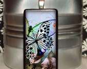 60% OFF CLEARANCE Devine Butterfly Bamboo Tile Pendant (MIN127)