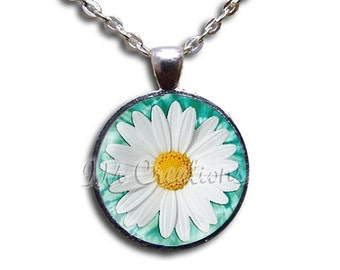 20% OFF - White Daisy Retro Flower Glass Dome Pendant or with Chain Link Necklace - NT103