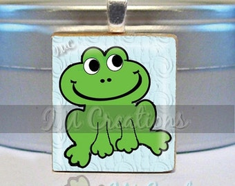60% OFF CLEARANCE Scrabble Tile Pendants - Whimsy Froggy (AM193)