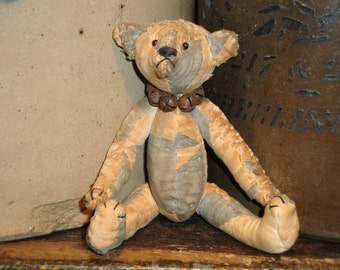 Antique Quilt Bear | Old Quilt Bear | Jointed Bear |  SMALL Bear 5.5 Inches Tall |  Hand Sewn
