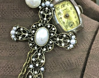 Junk Jewelry, Necklace, Cross, Watch, Clock, Vintage, Pearl, Handmade, Art Necklace,  Assemblage, Mixed Media, Collage, Vintage, Brass, OOAK