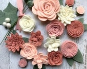 Wool Felt Flowers - Pastel Blush DIY Christmas Flower Embellishment - 18 Flowers & 24 leaves - Wreaths, Garlands - Metallic Gold add-on