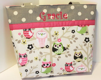 Personalized Diaper Bag . Bright Owls Gray and Pink . Weekender / XL size . monogrammed FREE . girl diaper bag . owl diaper bag . girl bag