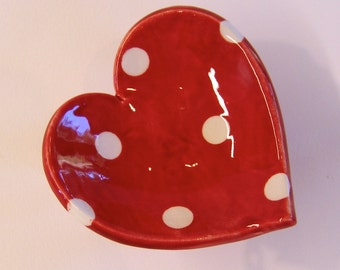 Red polka-dot ceramic red Heart Dish :) Mother's Day ring dish, pottery candle holder, soap dish