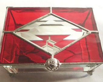 Ruby Red, Stained Glass Box, Glass Jewelry Box, Keepsake box. with Cut Glass Bevels and Personalized with the Handle of Your Choice