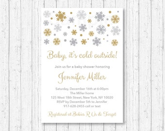 Snowflake Baby Shower Invitation / Snowflake Baby Shower Invite / Baby It's Cold Outside / Silver & Gold / Winter Shower / PRINTABLE A130