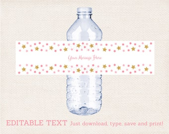 Twinkle Star Water Bottle Labels / Twinkle Star Baby Shower / Glitter Star / Pink Twinkle Star / Printable INSTANT DOWNLOAD Editable PDF