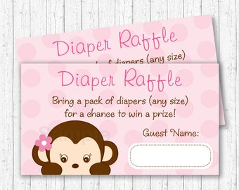 Girl Monkey Diaper Raffle Tickets / Monkey Baby Shower / Pink Monkey / Baby Girl Shower / INSTANT DOWNLOAD