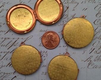 Vintage brass lockets 30mm 5 pcs