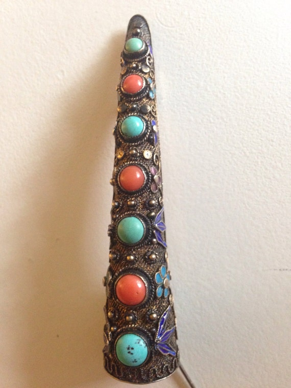 1895-1900 Chinese Enameled Sterling Silver Finger Guard Brooch with Coral and Turquoise