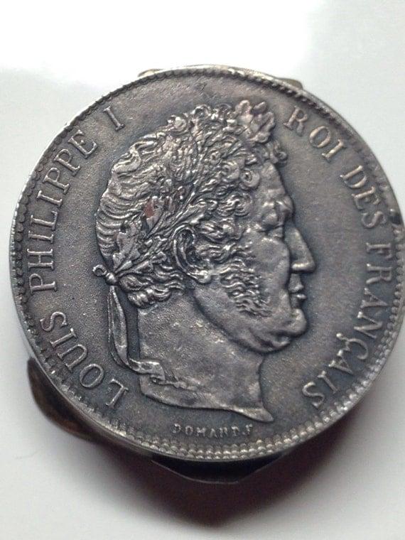 1847 French Coin Box 5 Francs Silver Philippe I Snuff Box Pill Box
