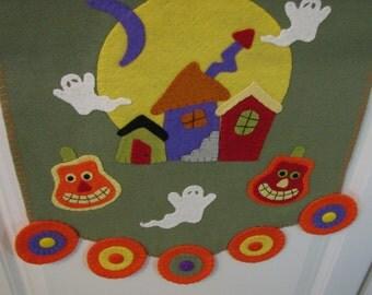 "50"" x 15"" Primitive-Folk Art Wool HALLOWEEN Table Runner - Penny Rug - Fiber Art - Home Decor - Halloween Decor -Haunted Village - Table Mat"