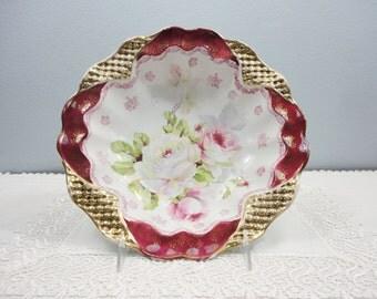 Antique Large Maroon Bordered Bowl with Large Floral Center, Gold Hobnail Details