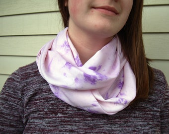 Pink and Lilac Purple Infinity Scarf Hand Dye-Look Fabric Light Scarf Summer Scarf Circle Loop Scarf Fashion Scarf Womens Scarves