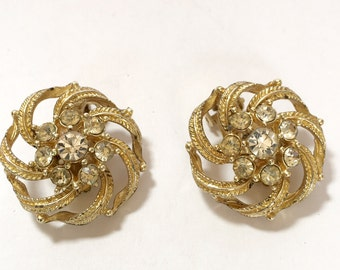 STAR Gold Tone Designer Signed Swirl Vintage Clip Earrings with Rhinestones Vintage Designer Clip Earrings Signed STAR
