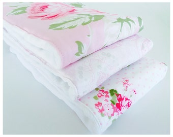 Pink Rose Garden....Set of (3) VERY ABSORBENT BURPIES...... Coordinating  fabric on 3ply cotton burp cloths......  Very handy for baby care