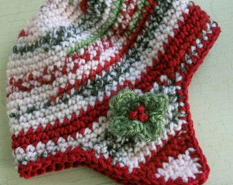 Baby Girls Crochet Hat Ear Flap Hat In Christmas Colors  Fits Babies 6-9 Months Ready To Ship