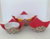 Microwave Fabric Bowl Set, Sock Monkies, Large Bowl and 2 Regular Bowls, Red and Tan,  Food Warming, Bowl Cozy, Gift Set
