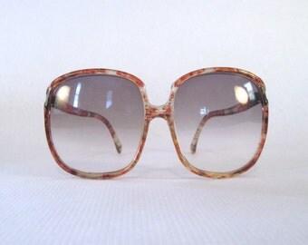 MOD 1980s vintage oversized Sunglasses - muddled tortoiseshell