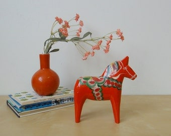 Vintage Swedish Folk Art Dala Horse Figurine - 6 inches
