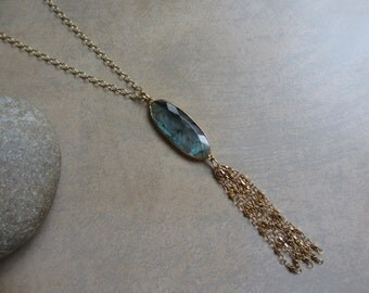 Blue Labradorite Tassel Necklace, Gold, Blue Green, Long Necklace, Bohemian, Boho Chic, Long Gold Necklace, Irisjewelrydeisgn