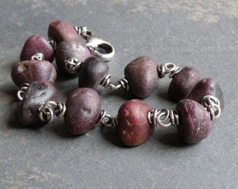 Ruby Gemstone Bracelet, Ruby Nuggets, Ruby Bracelet, Chunky Ruby Bracelet, Sterling Silver Wire Wrapped, July Birthstone #4634