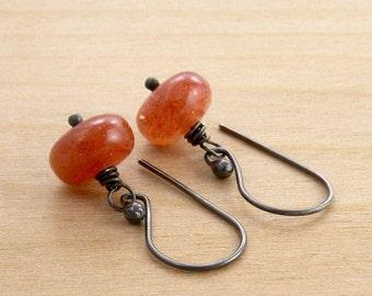 Sunstone Earrings, Orange Gemstone Earrings, Sunstone Jewelry, Orange Stone, Dangle Earrings, Orange Earrings, Sterling Silver,  #3583