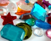 SALE - Acrylic Cabochons and Cabochon Links Assorted Sizes Shapes and Colors - 25 grams - 6377